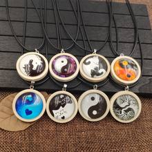 2019 Taoism Necklace Wood Wooden Pendant Rope Time Gem Relligious Tai Chi Yinyang The eight diagrams Symbol Male Gift AA085-108(China)