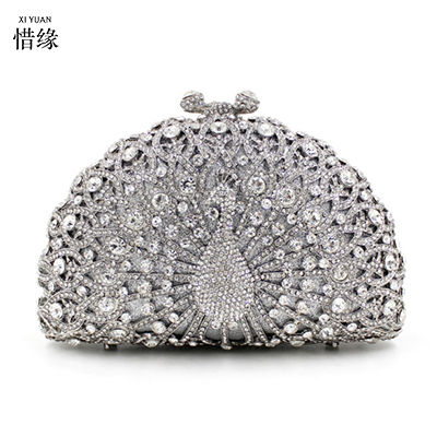 Xiyuan Brand 2017 Luxury Diamond Gold Evening Bags Pea Silver Clutch Crystal Beaded Rings