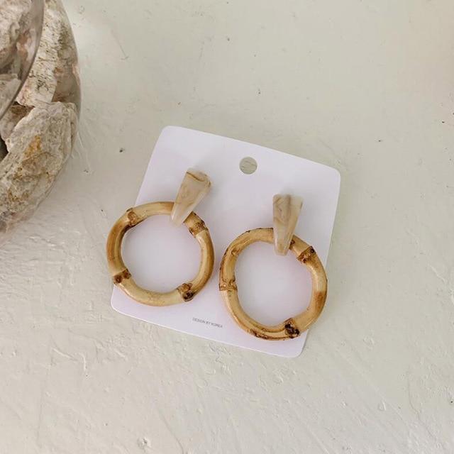 Round Bamboo Earrings  5