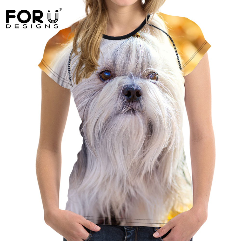 FORUDESIGNS T-shirt Trainer Running Fitness Sport Women Cute Shih Tzu Dog Printed Yoga Sport Shirts Quick Dry Tes Shirt Crop Top