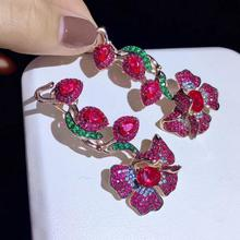 925 Стерлинговое Серебро с кубическим Цирконом цветок серьги-капельки Мода женские ювелирные изделия для свадебной вечеринки