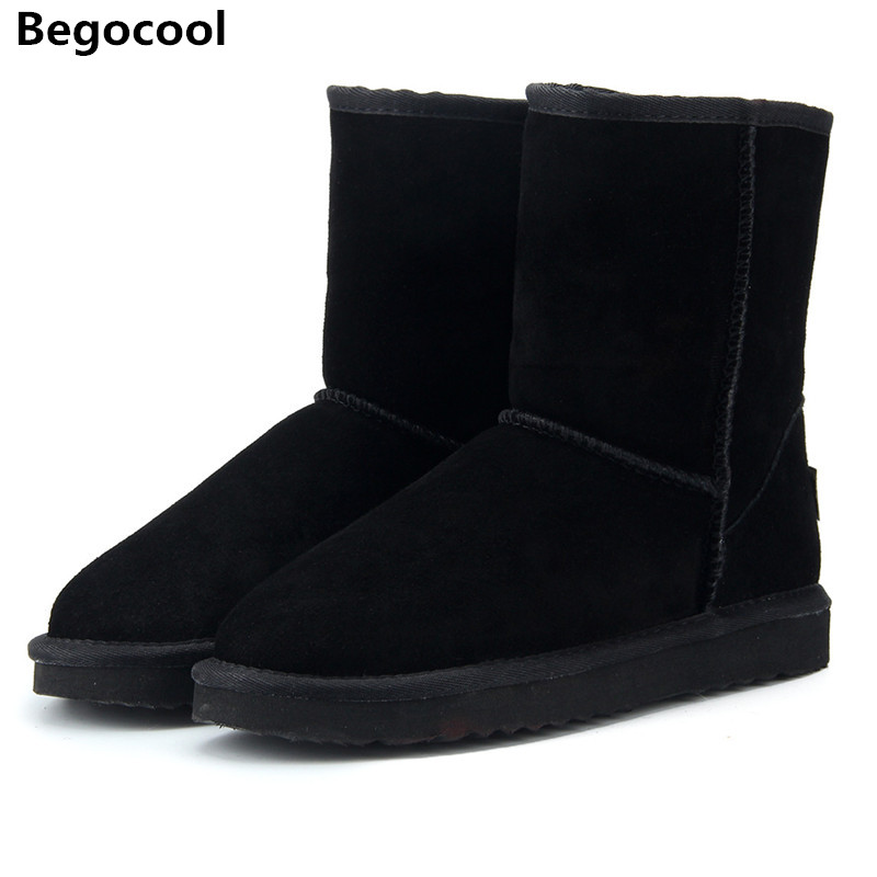 Begocool 2017 Style Hot Sale 100% Genuine Leather Fashion Girls Winter UG Snow Boots For Women Warm Winter Shoes Free Shipping hot sale fashion winter warm women lady s beret braided baggy beanie crochet hat ski cap 9 colors drop shipping