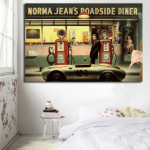 Destiny Highway Norma Jeans Roadside Diner Art Canvas Poster Oil Painting Wall Picture Print Home Bedroom Decoration Artwork HD