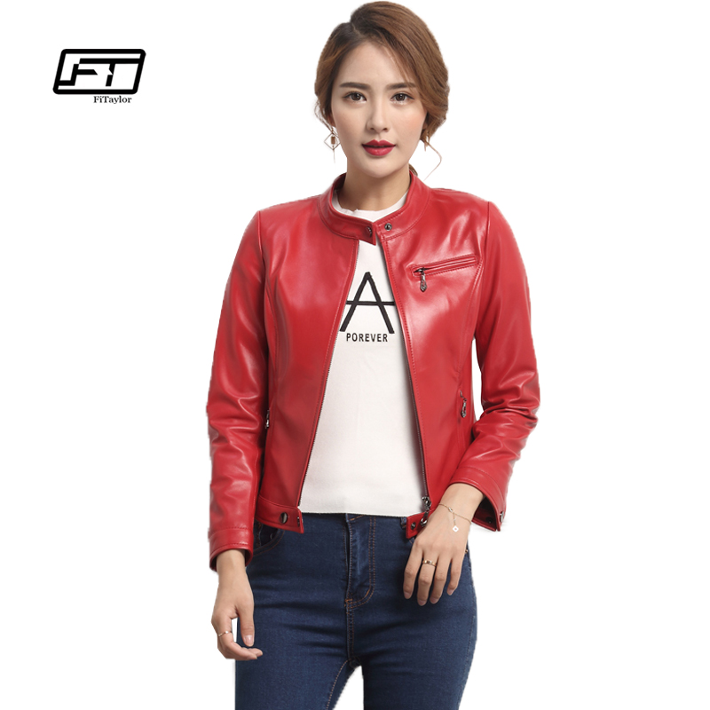 Fitaylor Women Faux   Leather   Jacket Autumn Ladies   Leather   Jackets Plus Size Red Black PU Bomber Coat Motorcycle Woman Jacket