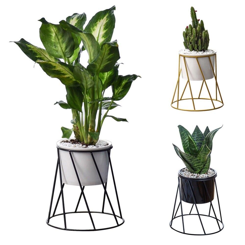Geometric Wall Decor Container European Simple Metal Succulent Green Plant Ceramic Iron Frame Flower Pot Combination
