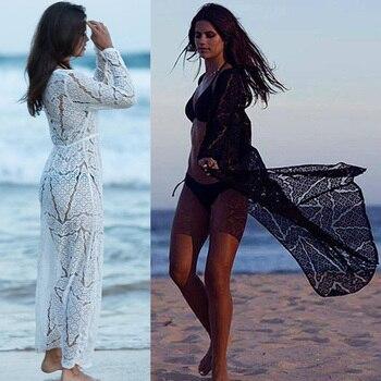 3342c5350 Nueva largo Crochet Beach Cover up traje de playa traje de baño cubrir  hasta Saida de Praia longa mujeres traje de baño túnicas playa
