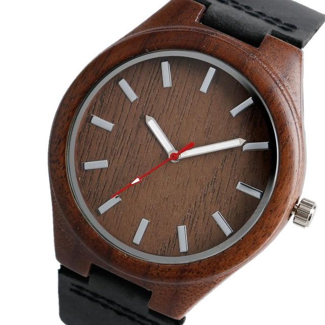 Cool bambou Natura bois montre cadran spécial hommes femmes montres mode en cuir véritable bande bracelet montre-bracelet 2