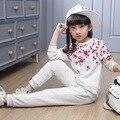 Цветы печатных детская одежда девушки установить маленькая девочка-подросток одежда набор весна осень топы брюки 2 шт. спортивные костюмы наряды
