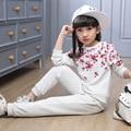 Flores impresso crianças roupas meninas definir pouco adolescente menina roupas set primavera outono tops calças 2 pcs ternos roupas esportes