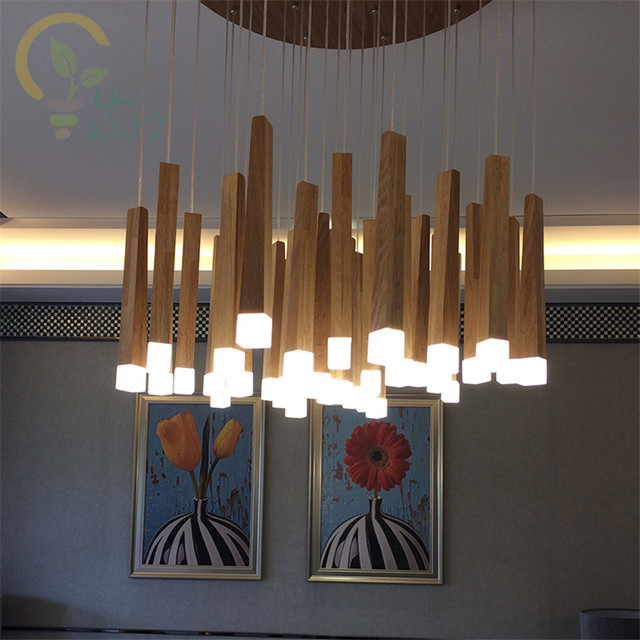 Vintage Match Stick Led Pendant Lights Wood Suspension Lighting Fixtures Modern Indoor Home Deco Luminaire Lamps