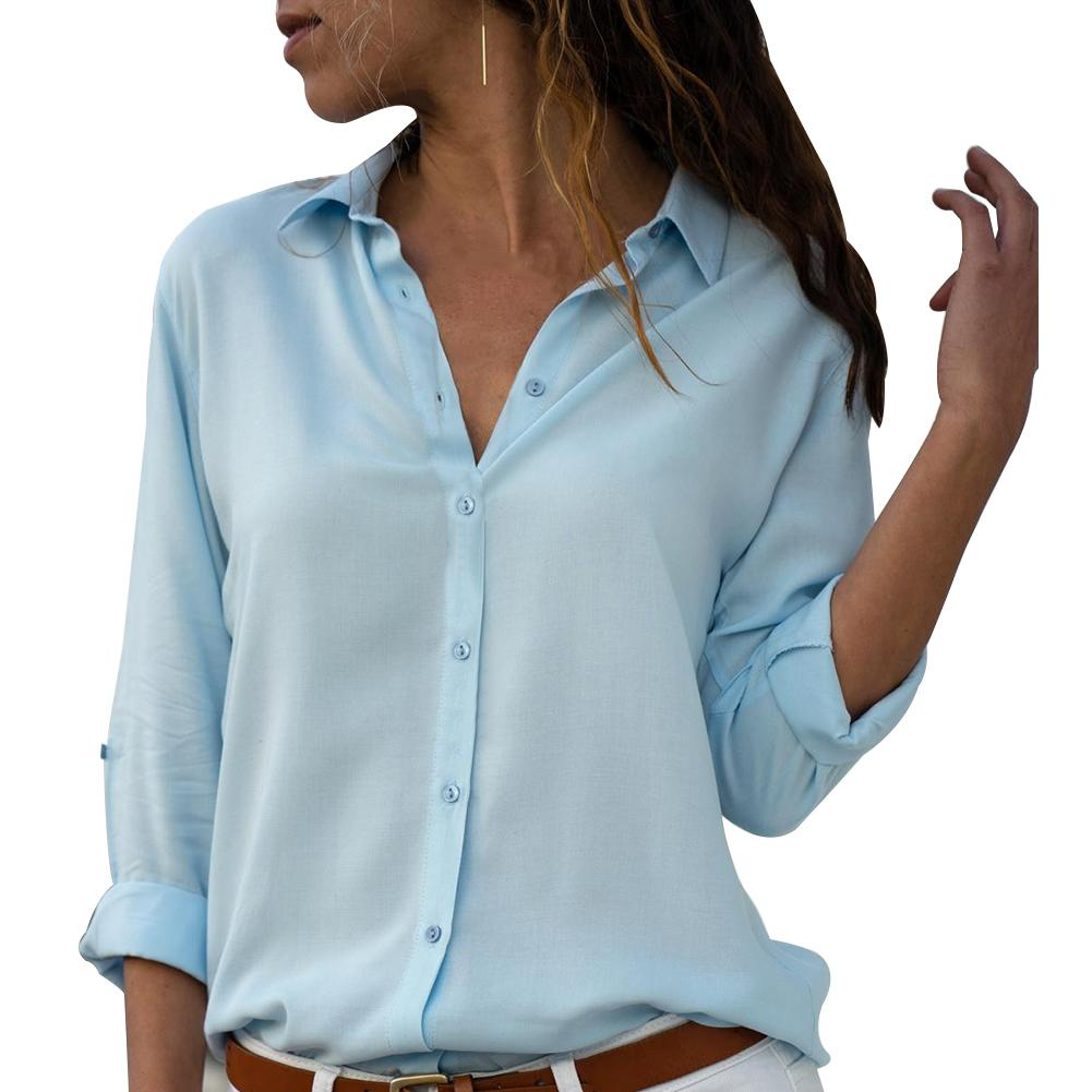 Women Sexy Buttons V Neck Solid Color Shirt Casual Autumn Long Sleeve Blouse New