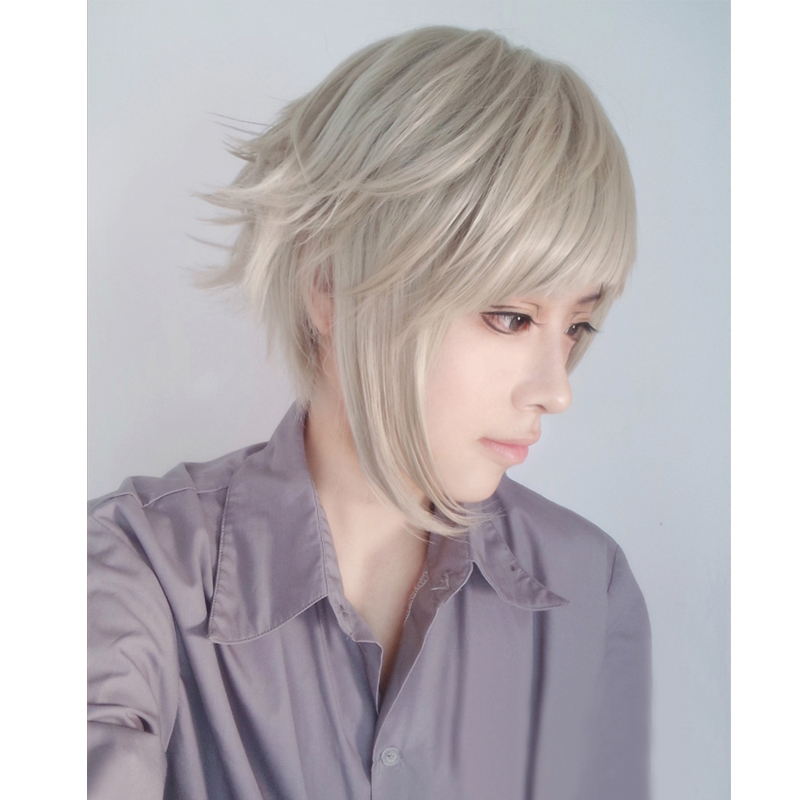 Bungo Stray Dogs Nakajima Atsushi Short Gray Synthetic Hair Heat Resistant Cosplay Anime Wig + Wig Cap