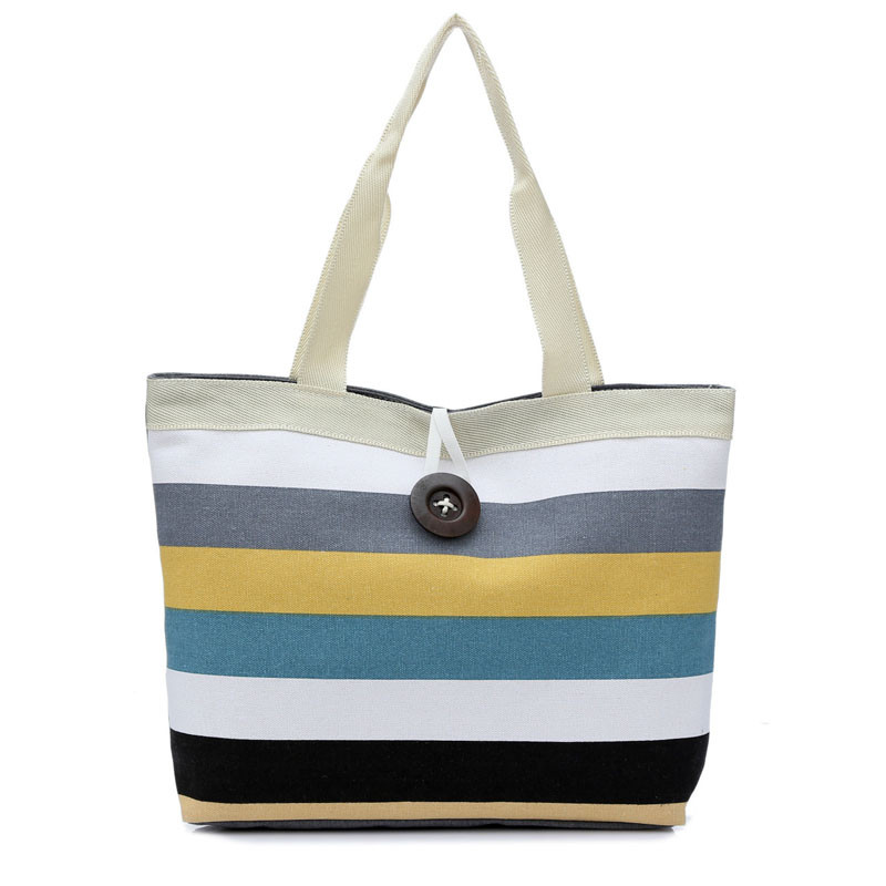 2018 Fashion Canvas Unisex Stripe Women Zipper Handbag Strap Coffee Shopping Bag Shoulder Bag Lady Bags Tote Handbag
