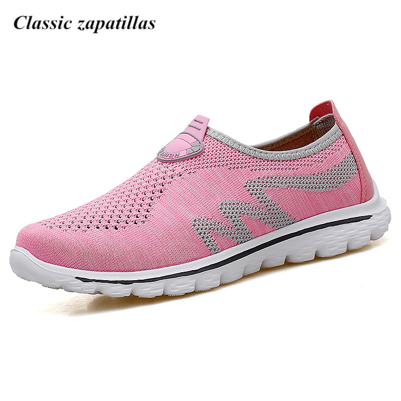 Classic zapatillas Light Comfortable Women Flat Shoes Breathable Mesh Summer Shoes Woman Loafers Female Slip-on Flats Size 35-44 2017 new summer zapato woman breathable mesh zapatillas shoes for women network soft casual shoes flats eur size 35 40