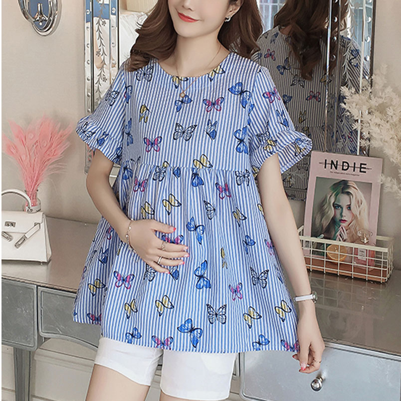 Provided New Summer Maternity Floral Embroidery Loose Blouse Shirts Butterfly Sleeve Blouse Cotton Top Vestidos Gown For Pregnant Women In Many Styles Mother & Kids
