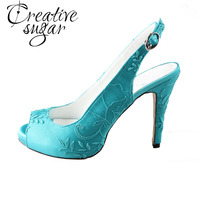Handmade Turquoise Slingback High Heels W Retro Lace Open Peep Toe Ladies Wedding Evening Party Prom
