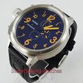 50mm Parnis orange number big face black dial mens quartz WATCH chronograph