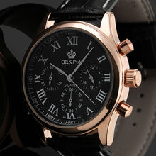 2016 Orkina Men Rose Gold 6 Hands Man Dress Quartz Sport Men s Watch Mens Wirst