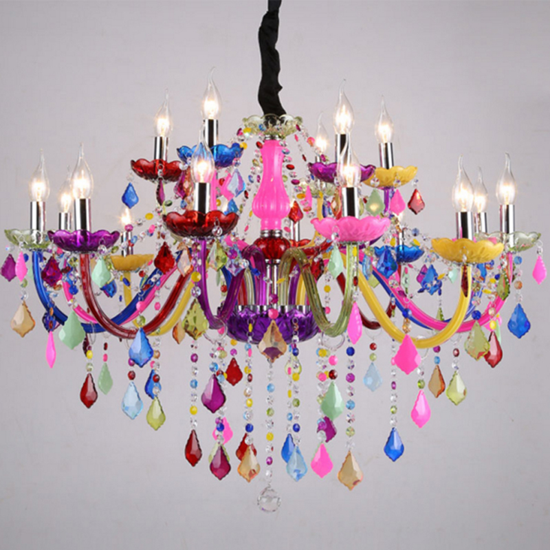 Romantic Colorful Chandelier Stained Glass Lights Ceiling Chandelier Modern Crystal Chandelier Living Room Stained Glass Lamp