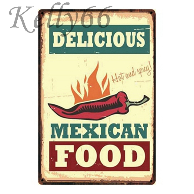 Delicious Mexican Food Metal Tin Sign Poster Home Bar Antique Wall Art Painting 2030 Cm Size Y-1344