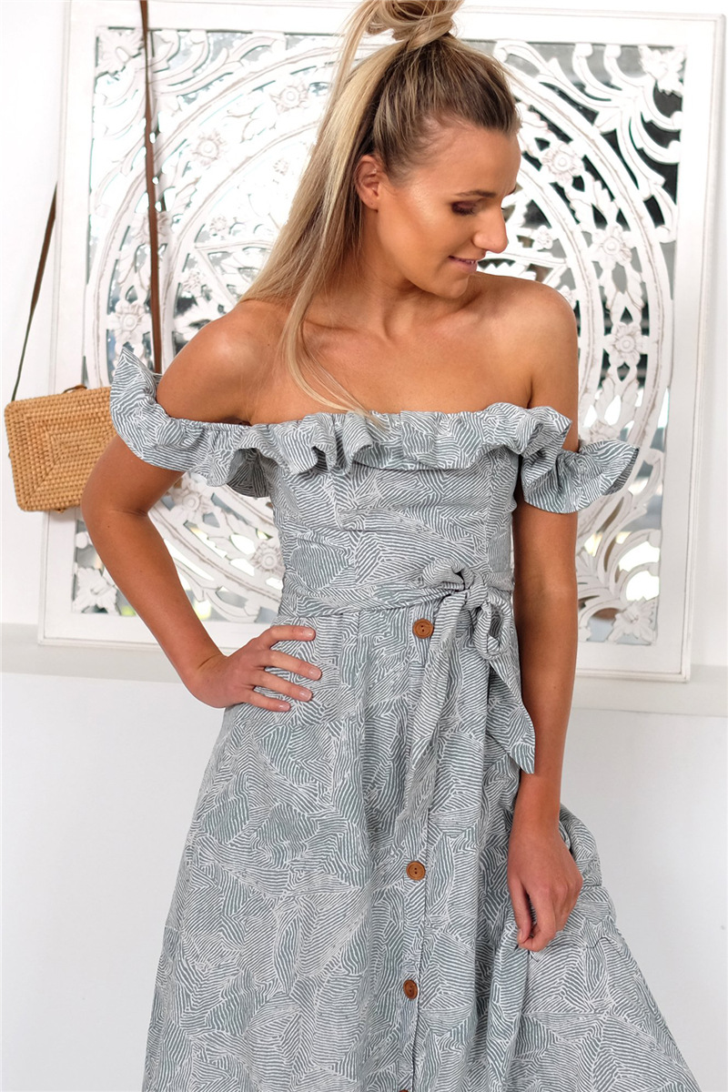 Backless Sexy Women Summer Dress 19 Ruffles Off Shoulder Beach Dress Buttons Strapless Long Sundress Boho Midi Dress Ladies 9
