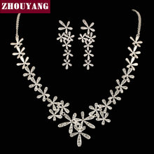 ZHOUYANG ZYS307 Women's Wedding Set  Platinum Plated Jewelry Necklace Earring Set Rhinestone Made with Austrian  Crystals