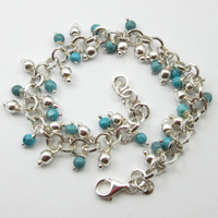 SOLID SILVER Round LARIMAR Bracelet 8 ! Affordable Wedding Jewelry