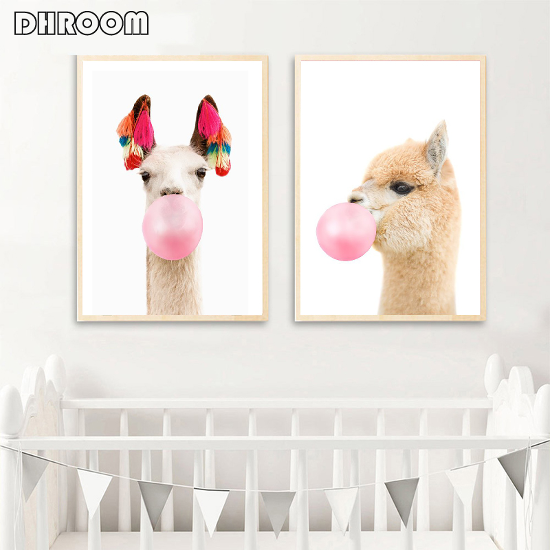 Llama Print Bubble Gum Wall Art Alpaca Boho Style Canvas Art Painting Animal Wall Picture Nursery Kids Room Decor Funny Poster