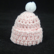 12PCS 30x35mm Miniature Crochet Hat Hand Knit Hat Pink Blue Props/Baby  Shower Favors/