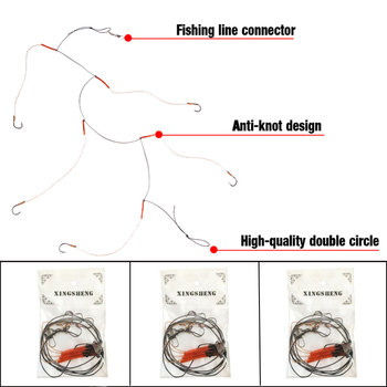 Fishing String Hooks With Five Sharp Penetration Hooks Carp Fishing Accessories Tackle Jig Fishhooks Stainless Steel 5 in 1 anti winding sharp fishing hooks golden red 2 pcs
