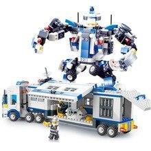20016 521pcs Город Мобильный полицейский строительный блок Кирпичный трансформационный робот, совместимый с игрушкой Legoe для детей Рождественские подарки