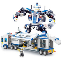 20016 521pcs City Mobile Police Building Block Brick Transformation Robot Compatible With Legoe Toy For Children Christmas Gifts