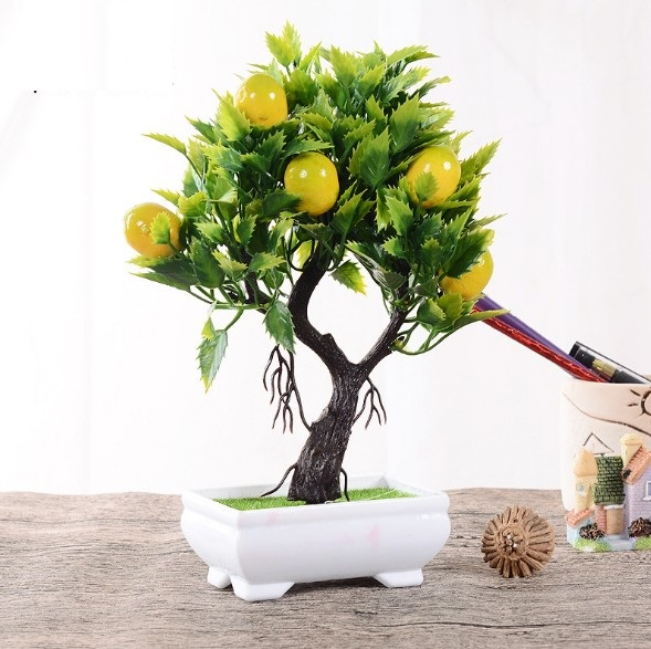 25cm Cute Mini Fruit Bonsai Lemon Tree In Pot Artificial Plant Decoration For Office Home Artificial Plants Aliexpress