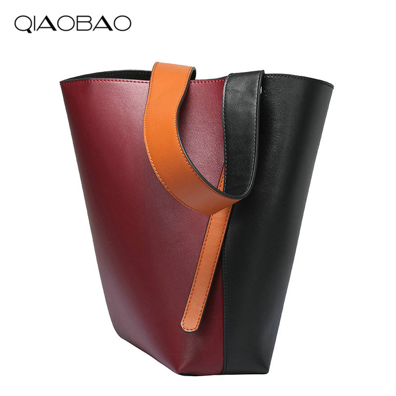 QIAOBAO Luxury Handbags Women Bag Designer Women Genuine Leather Bag Female Shoulder Bag Women Messenger Bags Bucket Tote Big unique design women leather canvas women big tote bag knit hollow out basket bag lady brown shopping bucket bags famous designer