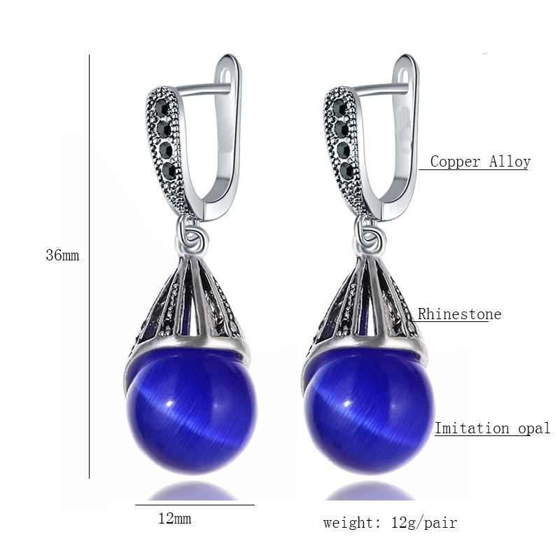 Iutopian หินหยดน้ำสีน้ำเงินเข้มเลียนแบบโอปอลต่างหูผู้หญิงเครื่องประดับ Vintage สำหรับงานแต่งงานของขวัญ # EAJ002