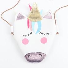 Cute White Unicorn Patterned Shoulder Bag