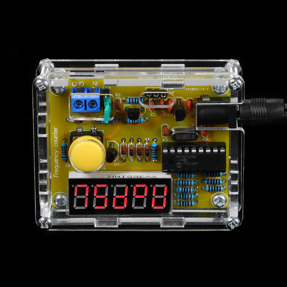 DIY meter frequency counter Tester digital Crystal Counter Meter Oscillator Tester with Transparent Case 1Hz~50MHz