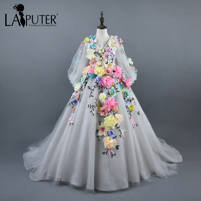 2ecf6a8d4ba Real Photos V-neck Colorful Flowers Appliqued Long Sleeves Flower Girl  Dresses Floor Length Ball Gown Lace-up Kids Pageant Dress