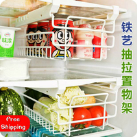 Kitchen Organizer Iron Refrigerator Drawer Storage Rack Retractable Spacer Layer Shelf Multi purpose Storage Drawers