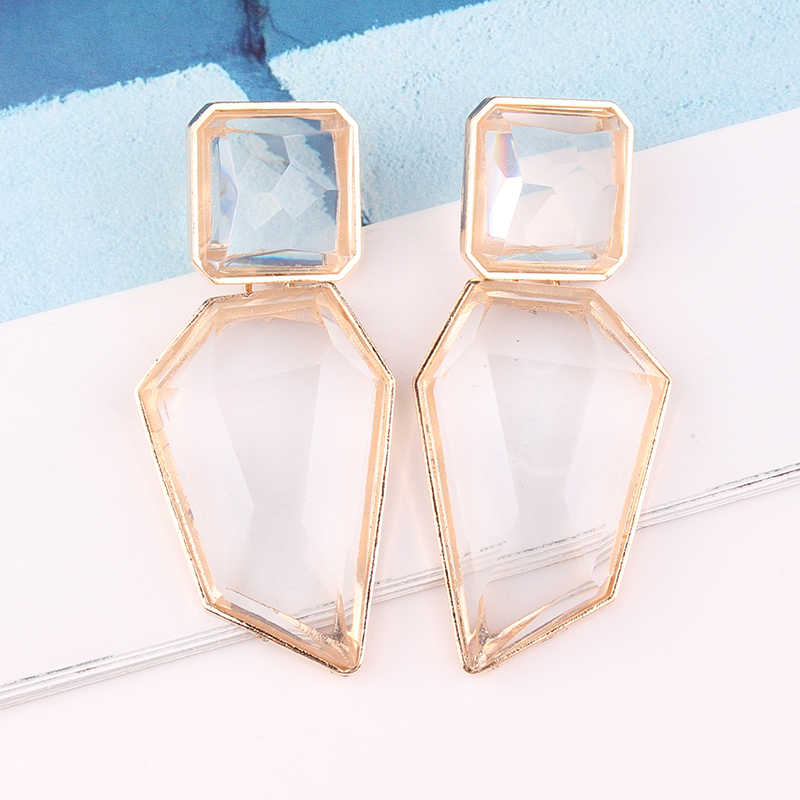 LUBOV 3styles Geometric Crystal Stone Dangle Earrings Gold Color Metal Frame Drop Earrings for Women Birthday Gift Party Jewelry