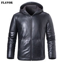 FLAVOR Mens Real Leather Down Jacket Hoodie Men Genuine Lambskin Winter Warm Leather White Duck Down Coat