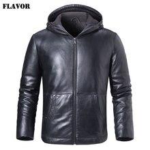 Kожаная куртка мужская толстовка на белом утином пуху FLAVOR, пуховик из натуральной шкуры ягненка, кожаное теплое пальто с капюшоном для зимы
