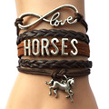 Drop Shipping Infinity Love Horses Bracelet -Brown Leather Frienship Horse Charm Bracelet Bangle