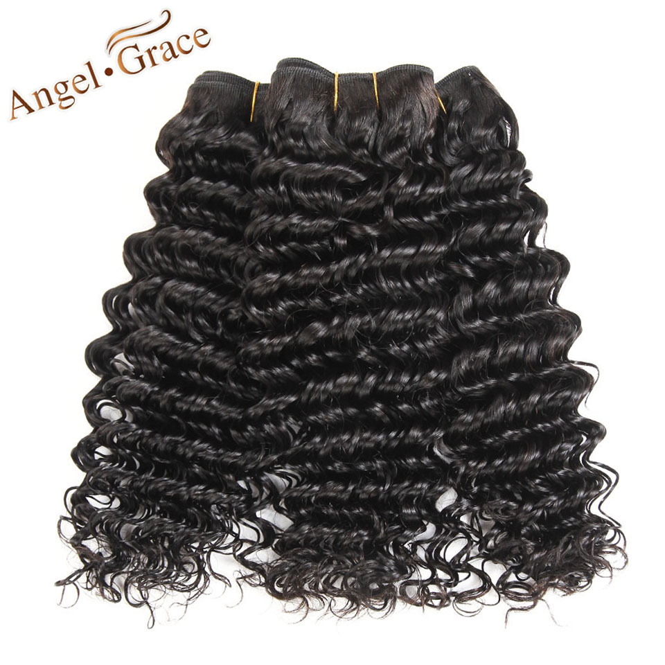 ANGEL GRACE Hair Deep Wave Brazilian Hair 100% Human Hair Bundles Natural Color Remy Hair 12-28 Inch Available 1 Piece Only