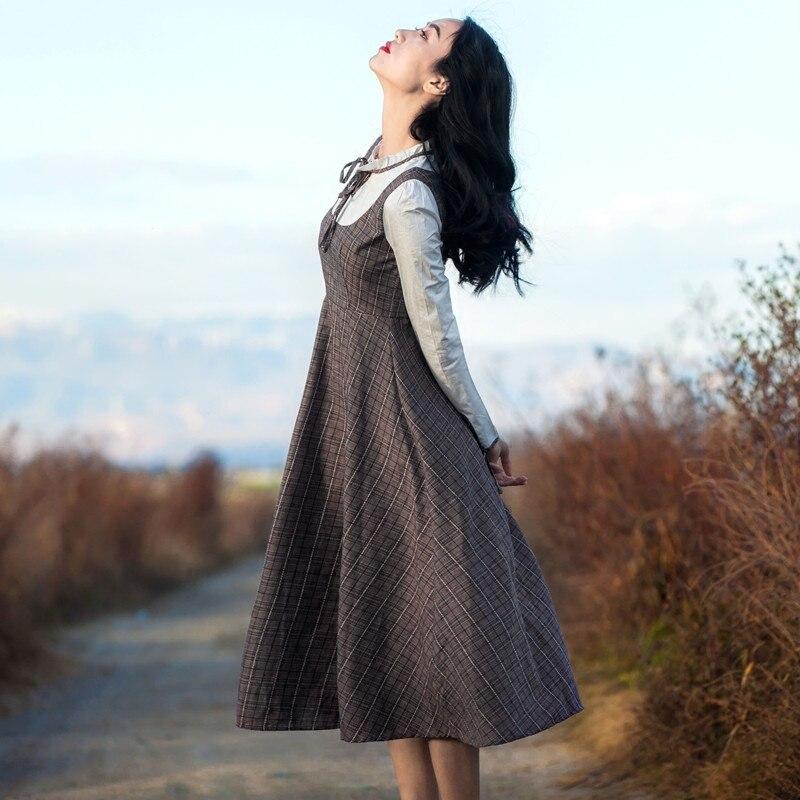 Motif Longues Manches D'une Carreaux Élégant Rétro Seule Vintage Printemps Robe Pièce À Femmes 2018 8CqwpRnOx