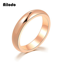 Ailodo Minimalist 4MM Titanium Steel Plain Rings For Women Men Rose Gold Silver Color Engagement Wedding Couple Rings LD018