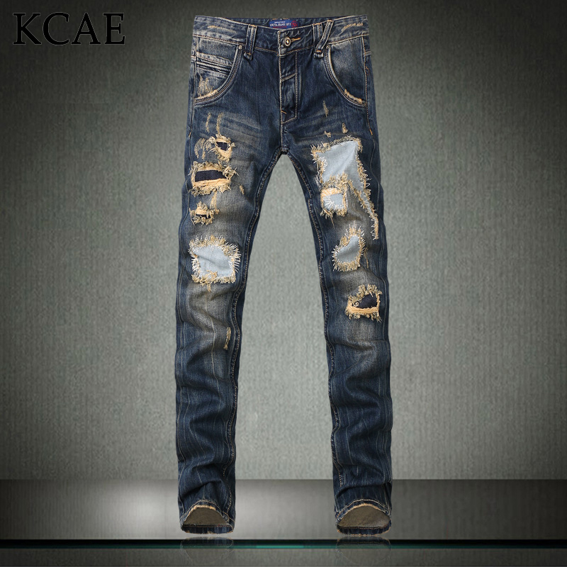2015 New Fashion Men s Distressed Jeans With Holes Acid Washed Vintage Casual Denim Pants Ripped