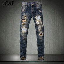 2015 New Fashion Men`s Distressed Jeans With Holes Acid Washed Vintage Casual Denim Pants Ripped Patch Jeans For Men Size 28-40