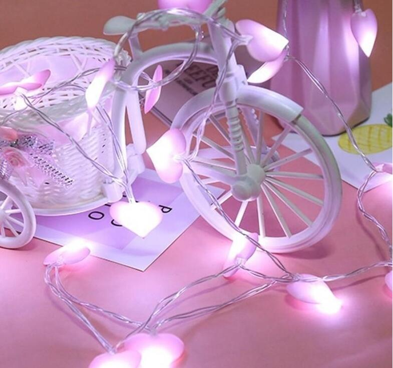 LED love string lights room decoration flash girl photo props battery lights Korean style fabric heart