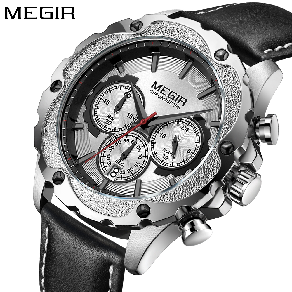 Megir brand new Men's Fashion Sport Watches Men Quartz Analog Date Clock Man leather Military army Watch Relogio Masculino цена и фото